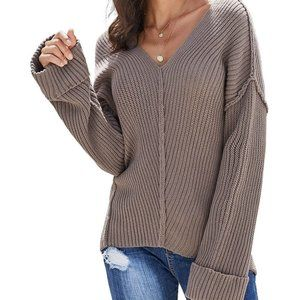 New Raw Seams V-Neck Knit Pullover Sweater L